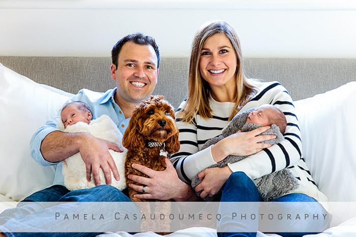 Kentfield Newborn twin session with dog