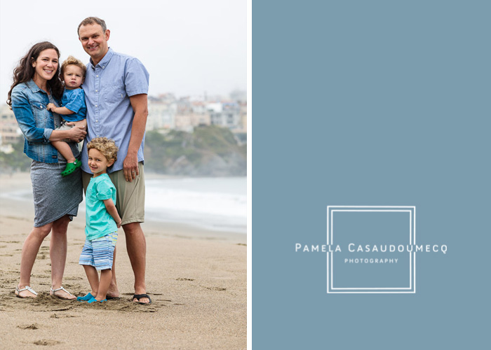 Baker beach family session with colorful houses of Lands End in background